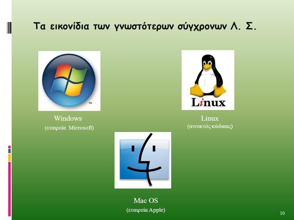 Τα εικονίδια των γνωστότερων σύγχρονων Λ. Σ. 10 Windows (εταιρεία Microsoft) Linux (ανοικτός κώδικας) Mac OS (εταιρεία Apple)