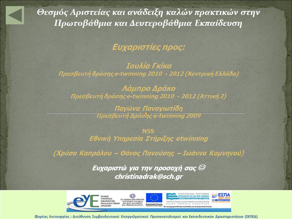 Θεσμός Αριστείας και ανάδειξη καλών πρακτικών στην Πρωτοβάθμια και Δευτεροβάθμια Εκπαίδευση Φορέας Λειτουργίας : Διεύθυνση Συμβουλευτικού Επαγγελματικού Προσανατολισμού και Εκπαιδευτικών Δραστηριοτήτων (ΣΕΠΕΔ) Opening sign Salutations Teck GN AquanautsCulture GNYouth GN Edu GN epilogue Ending sign Activism