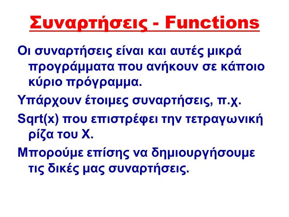 Ορισμός διαδικασίας Procedure όνομα διαδικασίας(παράμετροι); Const {μεταβλητές} Var {μεταβλητές} Begin … {Εντολές}.. End.