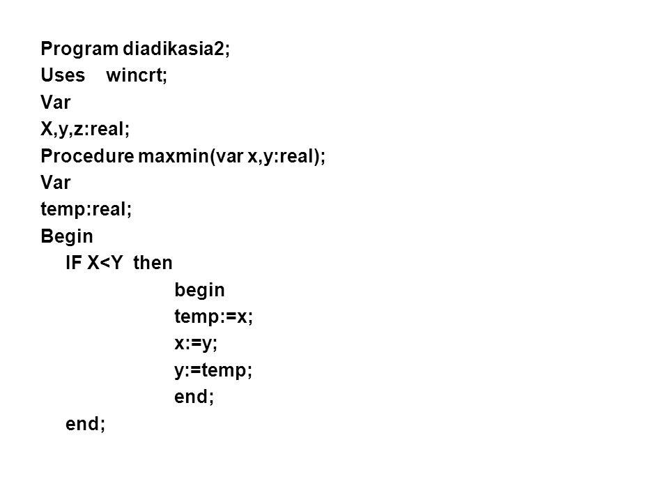 Παράδειγμα - Διαδικασίας2 Πρόβλημα: Να γραφεί ένα πρόγραμμα το οποίο να υπολογίζει τον μεγαλύτερο αριθμό από μια λίστα με τρεις αριθμούς. Το πρόγραμμα