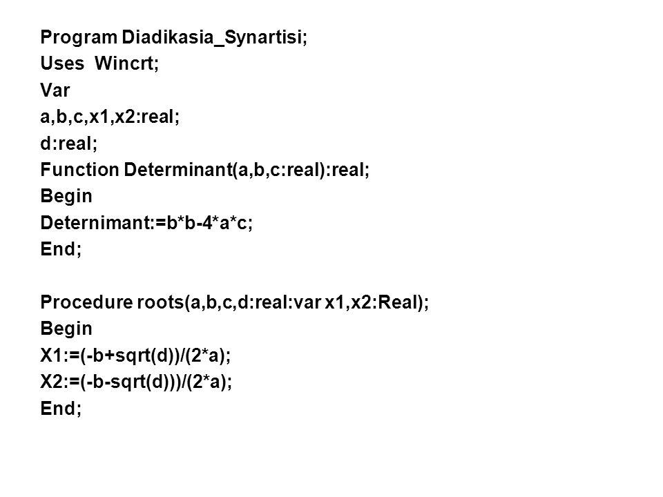 Παράδειγμα(Διαδικασία και Συνάρτηση) Να γραφεί πρόγραμμα το οποίο να διαβάζει τις τιμές των συντελεστών α,β και γ, μιας δευτεροβάθμιας εξίσωσης. Το πρ