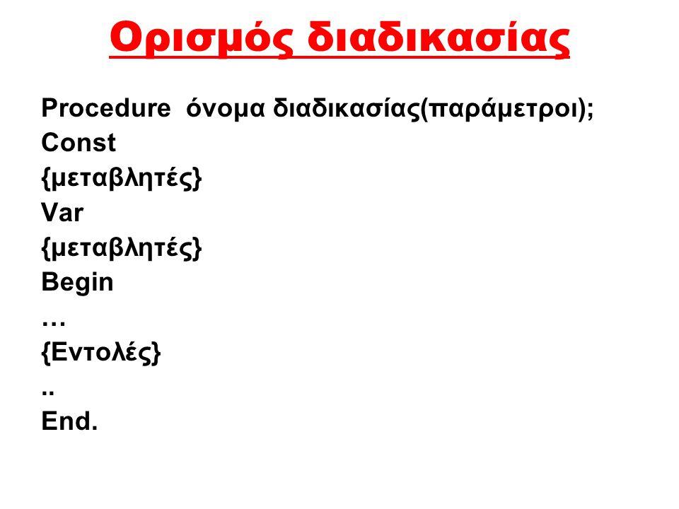 Ορισμός διαδικασίας Procedure όνομα διαδικασίας(παράμετροι); Const {μεταβλητές} Var {μεταβλητές} Begin … {Εντολές}..