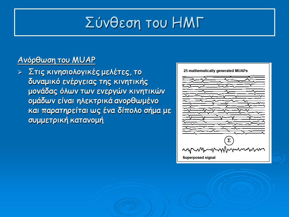 Σύνθεση του ΗΜΓ Ανόρθωση του MUAP  Στις κινησιολογικές μελέτες, το δυναμικό ενέργειας της κινητικής μονάδας όλων των ενεργών κινητικών ομάδων είναι ηλεκτρικά ανορθωμένο και παρατηρείται ως ένα δίπολο σήμα με συμμετρική κατανομή