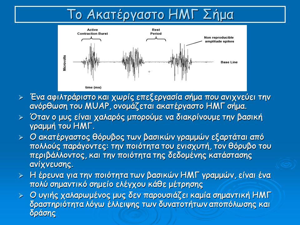 Το Ακατέργαστο ΗΜΓ Σήμα  Ένα αφιλτράριστο και χωρίς επεξεργασία σήμα που ανιχνεύει την ανόρθωση του MUAP, ονομάζεται ακατέργαστο ΗΜΓ σήμα.