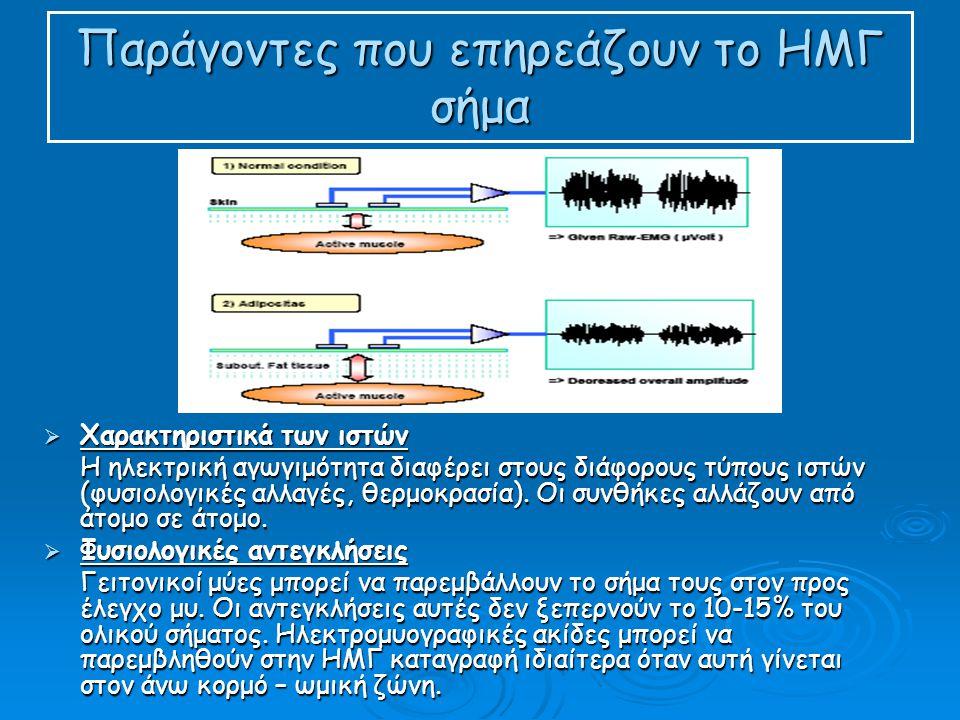 Παράγοντες που επηρεάζουν το ΗΜΓ σήμα  Χαρακτηριστικά των ιστών Η ηλεκτρική αγωγιμότητα διαφέρει στους διάφορους τύπους ιστών (φυσιολογικές αλλαγές, θερμοκρασία).
