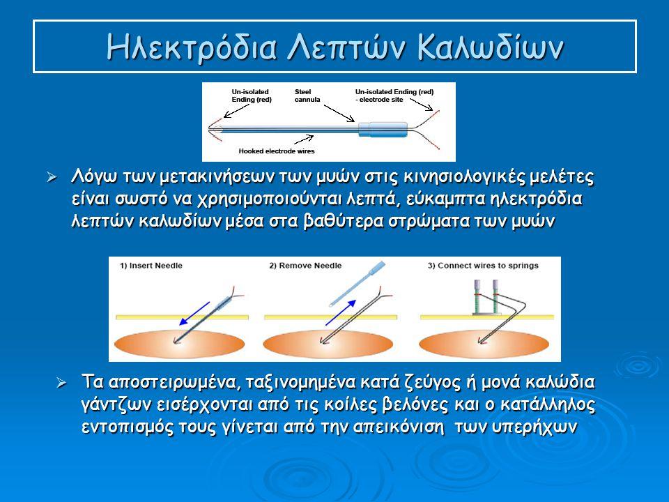 Ηλεκτρόδια Λεπτών Καλωδίων  Λόγω των μετακινήσεων των μυών στις κινησιολογικές μελέτες είναι σωστό να χρησιμοποιούνται λεπτά, εύκαμπτα ηλεκτρόδια λεπτών καλωδίων μέσα στα βαθύτερα στρώματα των μυών  Τα αποστειρωμένα, ταξινομημένα κατά ζεύγος ή μονά καλώδια γάντζων εισέρχονται από τις κοίλες βελόνες και ο κατάλληλος εντοπισμός τους γίνεται από την απεικόνιση των υπερήχων