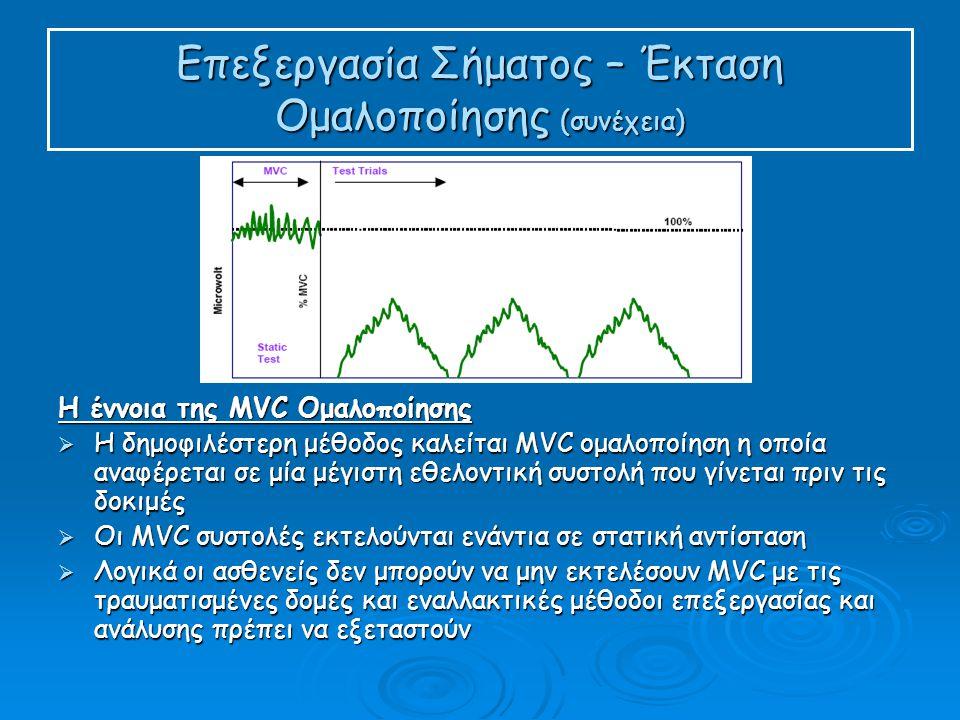 Επεξεργασία Σήματος – Έκταση Ομαλοποίησης (συνέχεια) Η έννοια της MVC Ομαλοποίησης  Η δημοφιλέστερη μέθοδος καλείται MVC ομαλοποίηση η οποία αναφέρεται σε μία μέγιστη εθελοντική συστολή που γίνεται πριν τις δοκιμές  Οι MVC συστολές εκτελούνται ενάντια σε στατική αντίσταση  Λογικά οι ασθενείς δεν μπορούν να μην εκτελέσουν MVC με τις τραυματισμένες δομές και εναλλακτικές μέθοδοι επεξεργασίας και ανάλυσης πρέπει να εξεταστούν