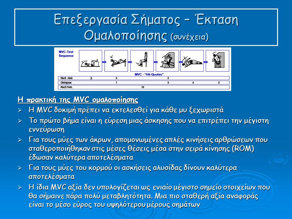 Επεξεργασία Σήματος – Έκταση Ομαλοποίησης (συνέχεια) Η πρακτική της MVC ομαλοποίησης  Η MVC δοκιμή πρέπει να εκτελεσθεί για κάθε μυ ξεχωριστά  Το πρώτο βήμα είναι η εύρεση μιας άσκησης που να επιτρέπει την μέγιστη εννεύρωση  Για τους μύες των άκρων, απομονωμένες απλές κινήσεις αρθρώσεων που σταθεροποιήθηκαν στις μέσες θέσεις μέσα στην σειρά κίνησης (ROM) έδωσαν καλύτερα αποτελέσματα  Για τους μύες του κορμού οι ασκήσεις αλυσίδας δίνουν καλύτερα αποτελέσματα  Η ίδια MVC αξία δεν υπολογίζεται ως ενιαίο μέγιστο σημείο στοιχείων που θα σήμαινε πάρα πολύ μεταβλητότητα.
