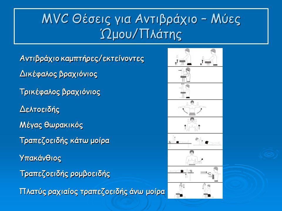 MVC Θέσεις για Αντιβράχιο – Μύες Ώμου/Πλάτης Αντιβράχιο καμπτήρες/εκτείνοντες Δικέφαλος βραχιόνιος Τρικέφαλος βραχιόνιος Δελτοειδής Μέγας θωρακικός Τραπεζοειδής κάτω μοίρα Υπακάνθιος Τραπεζοειδής ρομβοειδής Πλατύς ραχιαίος τραπεζοειδής άνω μοίρα