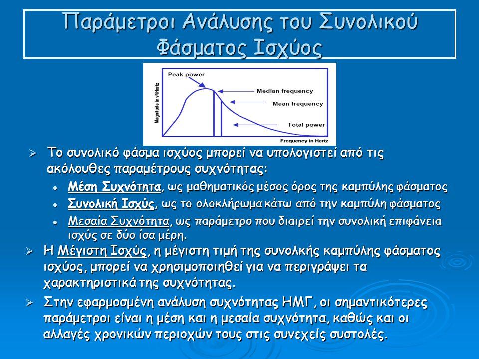 Παράμετροι Ανάλυσης του Συνολικού Φάσματος Ισχύος  Το συνολικό φάσμα ισχύος μπορεί να υπολογιστεί από τις ακόλουθες παραμέτρους συχνότητας:  Μέση Συχνότητα, ως μαθηματικός μέσος όρος της καμπύλης φάσματος  Συνολική Ισχύς, ως το ολοκλήρωμα κάτω από την καμπύλη φάσματος  Μεσαία Συχνότητα, ως παράμετρο που διαιρεί την συνολική επιφάνεια ισχύς σε δύο ίσα μέρη.