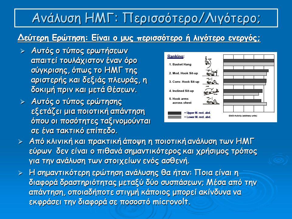 Ανάλυση ΗΜΓ: Περισσότερο/Λιγότερο; Δεύτερη Ερώτηση: Είναι ο μυς περισσότερο ή λιγότερο ενεργός;  Αυτός ο τύπος ερωτήσεων απαιτεί τουλάχιστον έναν όρο σύγκρισης, όπως το ΗΜΓ της αριστερής και δεξιάς πλευράς, η δοκιμή πριν και μετά θέσεων.