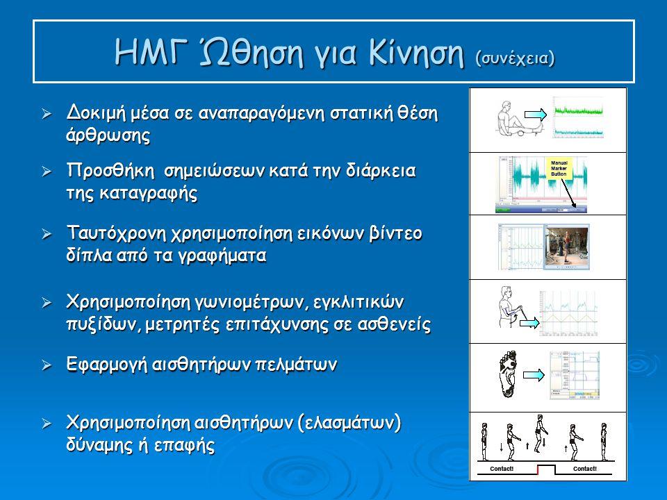 ΗΜΓ Ώθηση για Κίνηση (συνέχεια)  Δοκιμή μέσα σε αναπαραγόμενη στατική θέση άρθρωσης  Προσθήκη σημειώσεων κατά την διάρκεια της καταγραφής  Ταυτόχρονη χρησιμοποίηση εικόνων βίντεο δίπλα από τα γραφήματα  Χρησιμοποίηση γωνιομέτρων, εγκλιτικών πυξίδων, μετρητές επιτάχυνσης σε ασθενείς  Εφαρμογή αισθητήρων πελμάτων  Χρησιμοποίηση αισθητήρων (ελασμάτων) δύναμης ή επαφής