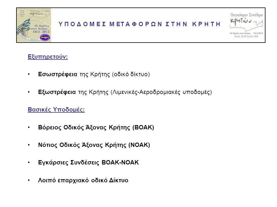 Εξυπηρετούν: •Εσωστρέφεια της Κρήτης (οδικό δίκτυο) •Εξωστρέφεια της Κρήτης (Λιμενικές-Αεροδρομιακές υποδομές) Βασικές Υποδομές: •Βόρειος Οδικός Άξονας Κρήτης (ΒΟΑΚ) •Νότιος Οδικός Άξονας Κρήτης (ΝΟΑΚ) •Εγκάρσιες Συνδέσεις ΒΟΑΚ-ΝΟΑΚ •Λοιπό επαρχιακό οδικό Δίκτυο Υ Π Ο Δ Ο Μ Ε Σ Μ ΕΤ Α Φ Ο Ρ Ω Ν Σ Τ Η Ν Κ Ρ Η Τ Η