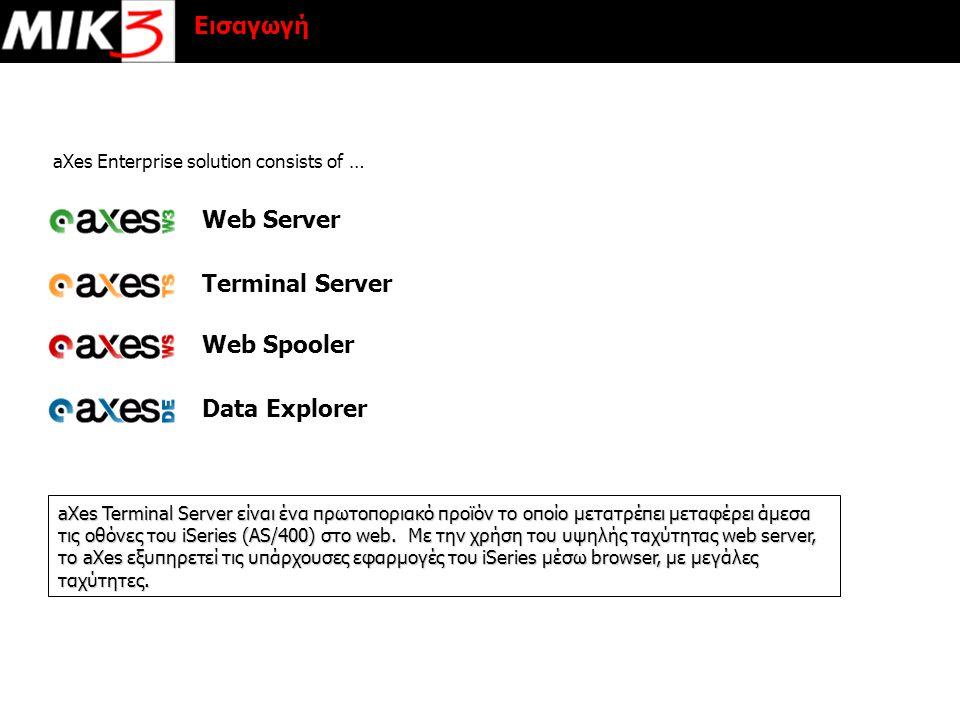 Εισαγωγή aXes Terminal Server είναι ένα πρωτοποριακό προϊόν το οποίο μετατρέπει μεταφέρει άμεσα τις οθόνες του iSeries (AS/400) στο web. Με την χρήση