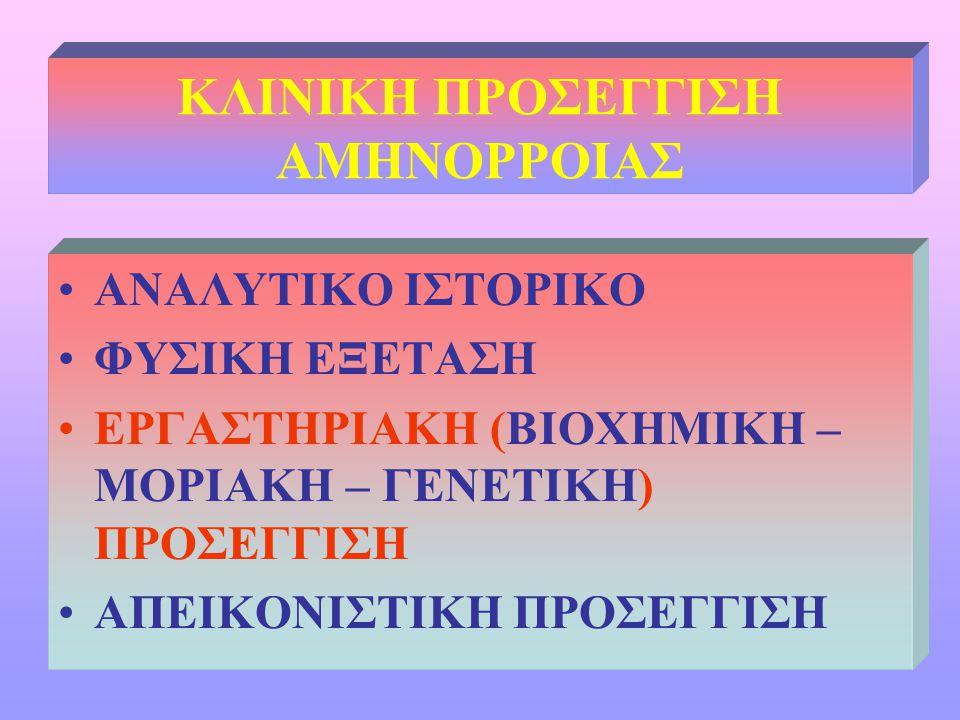 ΚΛΙΝΙΚΗ ΠΡΟΣΕΓΓΙΣΗ ΑΜΗΝΟΡΡΟΙΑΣ •ΑΝΑΛΥΤΙΚΟ ΙΣΤΟΡΙΚΟ •ΦΥΣΙΚΗ ΕΞΕΤΑΣΗ •ΕΡΓΑΣΤΗΡΙΑΚΗ (ΒΙΟΧΗΜΙΚΗ – ΜΟΡΙΑΚΗ – ΓΕΝΕΤΙΚΗ) ΠΡΟΣΕΓΓΙΣΗ •ΑΠΕΙΚΟΝΙΣΤΙΚΗ ΠΡΟΣΕΓΓΙΣΗ
