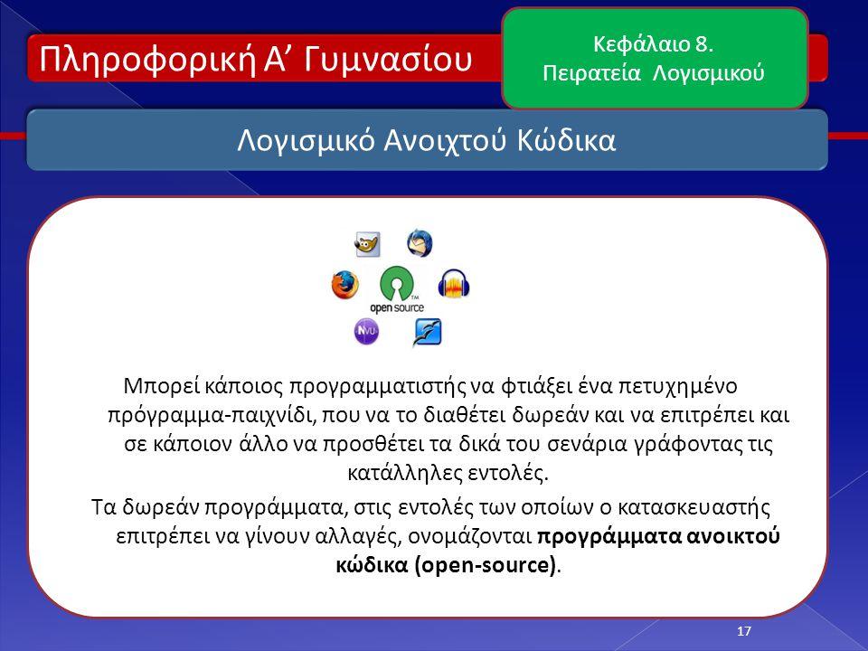 Πληροφορική Α' Γυμνασίου 17 Λογισμικό Ανοιχτού Κώδικα Κεφάλαιο 8.