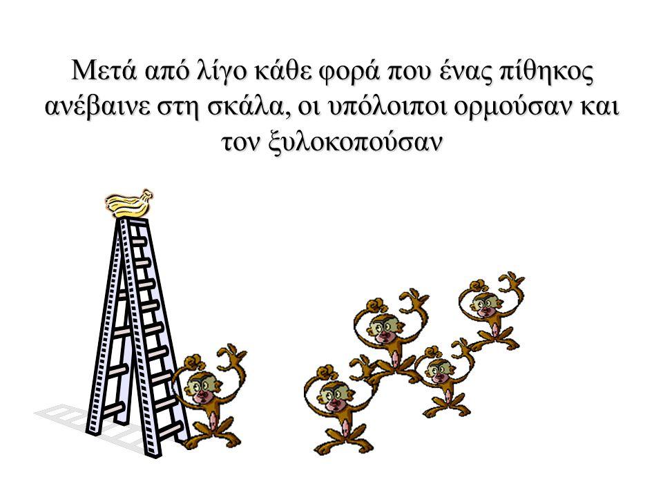 Κάθε φορά που ένας πίθηκος ανέβαινε στη σκάλα, οι επιστήμονες κατέβρεχαν τους υπόλοιπους πίθηκους με παγωμένο νερό