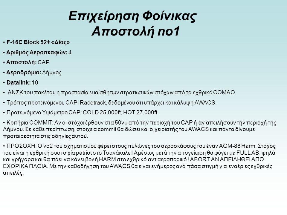 Επιχείρηση Φοίνικας Αποστολή no1 • F-16C Block 52+ «Δίας» • Αριθμός Αεροσκαφών: 4 • Αποστολή: CAP • Αεροδρόμιο: Λήμνος • Datalink: 10 • ΑΝΣΚ του πακέτ