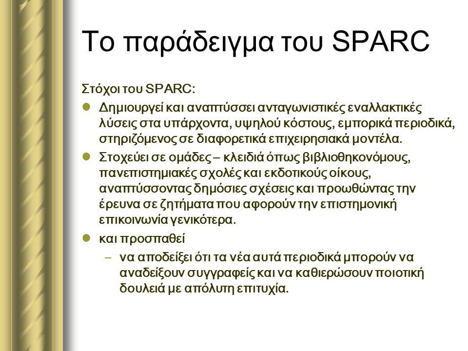 Το παράδειγμα του SPARC Στόχοι του SPARC:  Δημιουργεί και αναπτύσσει ανταγωνιστικές εναλλακτικές λύσεις στα υπάρχοντα, υψηλού κόστους, εμπορικά περιοδικά, στηριζόμενος σε διαφορετικά επιχειρησιακά μοντέλα.