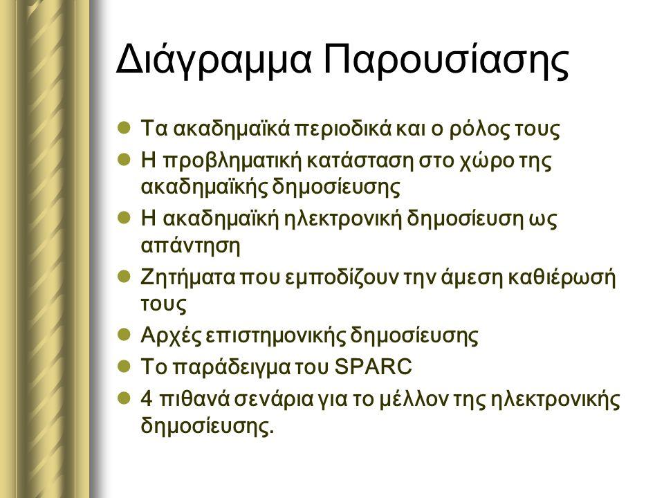Διάγραμμα Παρουσίασης  Τα ακαδημαϊκά περιοδικά και ο ρόλος τους  Η προβληματική κατάσταση στο χώρο της ακαδημαϊκής δημοσίευσης  Η ακαδημαϊκή ηλεκτρονική δημοσίευση ως απάντηση  Ζητήματα που εμποδίζουν την άμεση καθιέρωσή τους  Αρχές επιστημονικής δημοσίευσης  Το παράδειγμα του SPARC  4 πιθανά σενάρια για το μέλλον της ηλεκτρονικής δημοσίευσης.