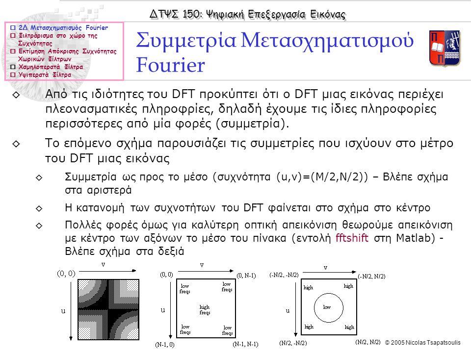 ΔΤΨΣ 150: Ψηφιακή Επεξεργασία Εικόνας © 2005 Nicolas Tsapatsoulis Συμμετρία Μετασχηματισμού Fourier  2Δ Μετασχηματισμός Fourier  Φιλτράρισμα στο χώρο της Συχνότητας  Εκτίμηση Απόκρισης Συχνότητας Χωρικών Φίλτρων  Χαμηλοπερατά Φίλτρα  Υψιπερατά Φίλτρα ◊Από τις ιδιότητες του DFT προκύπτει ότι ο DFT μιας εικόνας περιέχει πλεονασματικές πληροφρίες, δηλαδή έχουμε τις ίδιες πληροφορίες περισσότερες από μία φορές (συμμετρία).