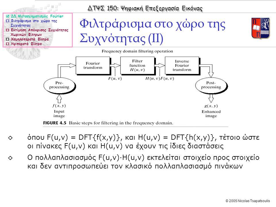 ΔΤΨΣ 150: Ψηφιακή Επεξεργασία Εικόνας © 2005 Nicolas Tsapatsoulis Φιλτράρισμα στο χώρο της Συχνότητας (ΙΙ) ◊όπου F(u,v) = DFT{f(x,y)}, και H(u,v) = DFT{h(x,y)}, τέτοιο ώστε οι πίνακες F(u,v) και Η(u,v) να έχουν τις ίδιες διαστάσεις ◊Ο πολλαπλασιασμός F(u,v)·H(u,v) εκτελείται στοιχείο προς στοιχείο και δεν αντιπροσωπεύει τον κλασικό πολλαπλασιασμό πινάκων  2Δ Μετασχηματισμός Fourier  Φιλτράρισμα στο χώρο της Συχνότητας  Εκτίμηση Απόκρισης Συχνότητας Χωρικών Φίλτρων  Χαμηλοπερατά Φίλτρα  Υψιπερατά Φίλτρα