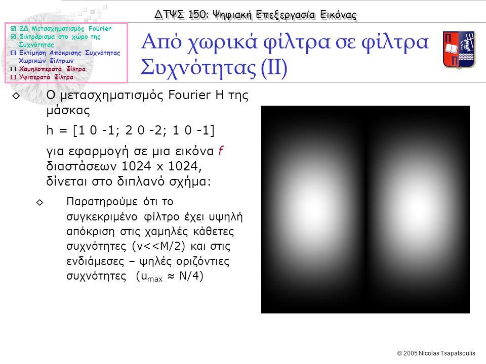 ΔΤΨΣ 150: Ψηφιακή Επεξεργασία Εικόνας © 2005 Nicolas Tsapatsoulis ◊Ο μετασχηματισμός Fourier Η της μάσκας h = [1 0 -1; 2 0 -2; 1 0 -1] για εφαρμογή σε μια εικόνα f διαστάσεων 1024 x 1024, δίνεται στο διπλανό σχήμα: ◊Παρατηρούμε ότι το συγκεκριμένο φίλτρο έχει υψηλή απόκριση στις χαμηλές κάθετες συχνότητες (v<<M/2) και στις ενδιάμεσες – ψηλές οριζόντιες συχνότητες (u max ≈ N/4) Από χωρικά φίλτρα σε φίλτρα Συχνότητας (ΙΙ)  2Δ Μετασχηματισμός Fourier  Φιλτράρισμα στο χώρο της Συχνότητας  Εκτίμηση Απόκρισης Συχνότητας Χωρικών Φίλτρων  Χαμηλοπερατά Φίλτρα  Υψιπερατά Φίλτρα