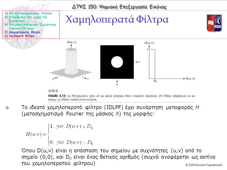 ΔΤΨΣ 150: Ψηφιακή Επεξεργασία Εικόνας © 2005 Nicolas Tsapatsoulis ◊Το ιδεατό χαμηλοπερατό φίλτρο (IDLPF) έχει συνάρτηση μεταφοράς Η (μετασχηματισμό Fourier της μάσκας h) της μορφής: Όπου D(u,v) είναι η απόσταση του σημείου με συχνότητες (u,v) από το σημείο (0,0), και D 0 είναι ένας θετικός αριθμός (συχνά αναφέρεται ως ακτίνα του χαμηλοπερατού φίλτρου) Χαμηλοπερατά Φίλτρα  2Δ Μετασχηματισμός Fourier  Φιλτράρισμα στο χώρο της Συχνότητας  Εκτίμηση Απόκρισης Συχνότητας Χωρικών Φίλτρων  Χαμηλοπερατά Φίλτρα  Υψιπερατά Φίλτρα