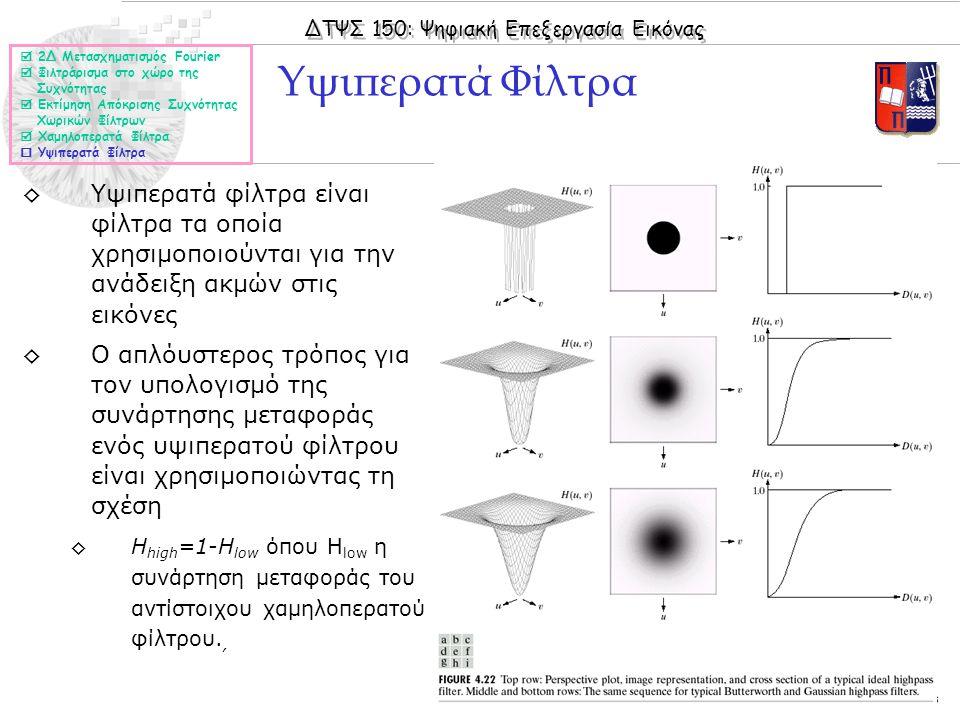 ΔΤΨΣ 150: Ψηφιακή Επεξεργασία Εικόνας © 2005 Nicolas Tsapatsoulis ◊Υψιπερατά φίλτρα είναι φίλτρα τα οποία χρησιμοποιούνται για την ανάδειξη ακμών στις εικόνες ◊Ο απλόυστερος τρόπος για τον υπολογισμό της συνάρτησης μεταφοράς ενός υψιπερατού φίλτρου είναι χρησιμοποιώντας τη σχέση ◊Η high =1-H low όπου Η low η συνάρτηση μεταφοράς του αντίστοιχου χαμηλοπερατού φίλτρου., Υψιπερατά Φίλτρα  2Δ Μετασχηματισμός Fourier  Φιλτράρισμα στο χώρο της Συχνότητας  Εκτίμηση Απόκρισης Συχνότητας Χωρικών Φίλτρων  Χαμηλοπερατά Φίλτρα  Υψιπερατά Φίλτρα