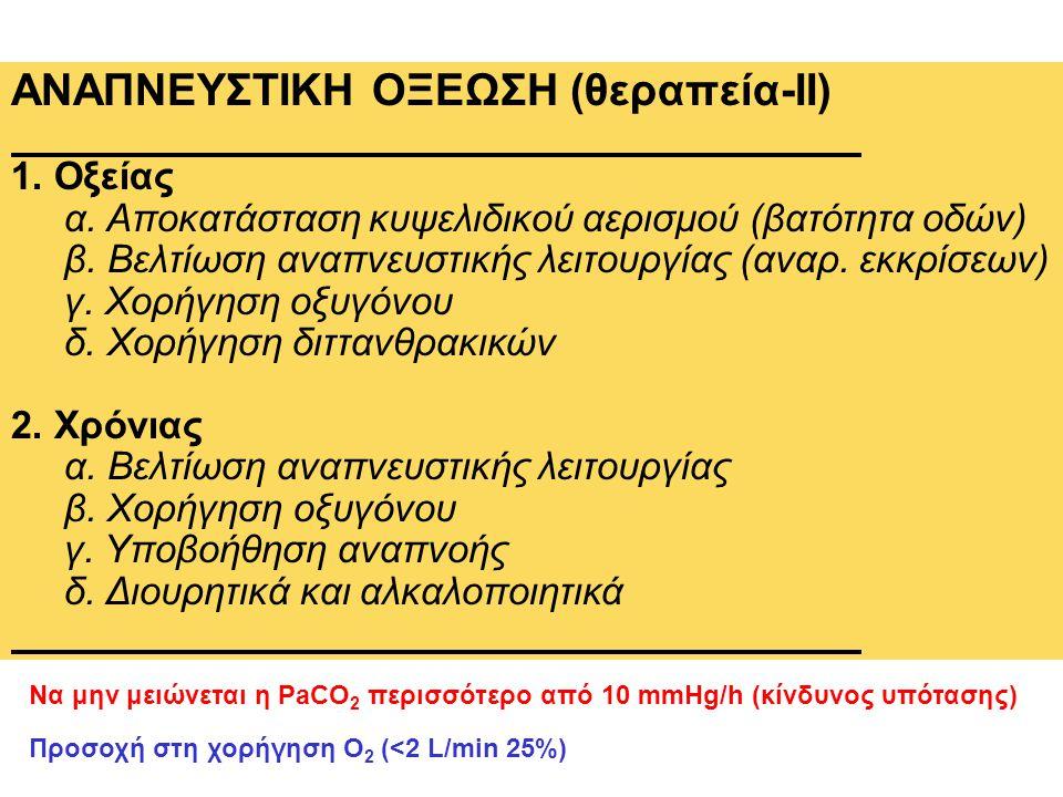 ΑΝΑΠΝΕΥΣΤΙΚΗ ΟΞΕΩΣΗ (θεραπεία-ΙΙ) 1. Οξείας α. Αποκατάσταση κυψελιδικού αερισμού (βατότητα οδών) β. Βελτίωση αναπνευστικής λειτουργίας (αναρ. εκκρίσεω