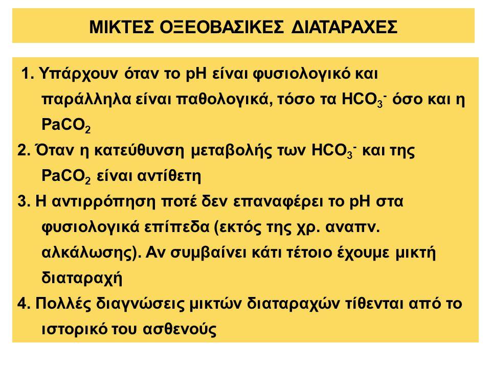 1. Υπάρχουν όταν το pH είναι φυσιολογικό και παράλληλα είναι παθολογικά, τόσο τα HCO 3 - όσο και η PaCO 2 2. Όταν η κατεύθυνση μεταβολής των HCO 3 - κ