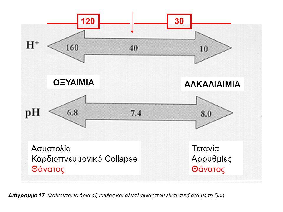 ΟΞΥΑΙΜΙΑ ΑΛΚΑΛΙΑΙΜΙΑ Ασυστολία Καρδιοπνευμονικό Collapse Θάνατος Τετανία Αρρυθμίες Θάνατος 12030 Διάγραμμα 17: Φαίνονται τα όρια οξυαιμίας και αλκαλαι