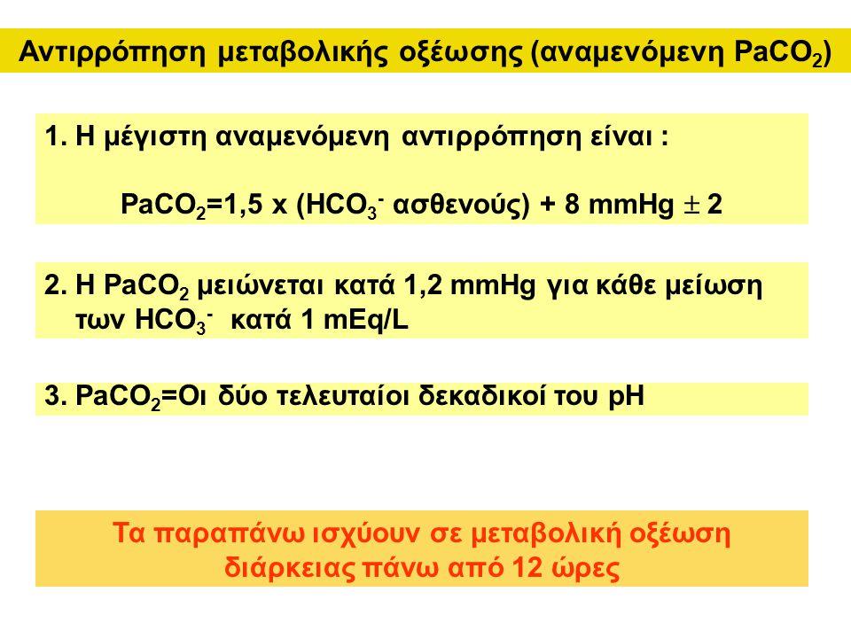Αντιρρόπηση μεταβολικής οξέωσης (αναμενόμενη PaCO 2 ) 1. Η μέγιστη αναμενόμενη αντιρρόπηση είναι : PaCO 2 =1,5 x (HCO 3 - ασθενούς) + 8 mmHg  2 Τα πα