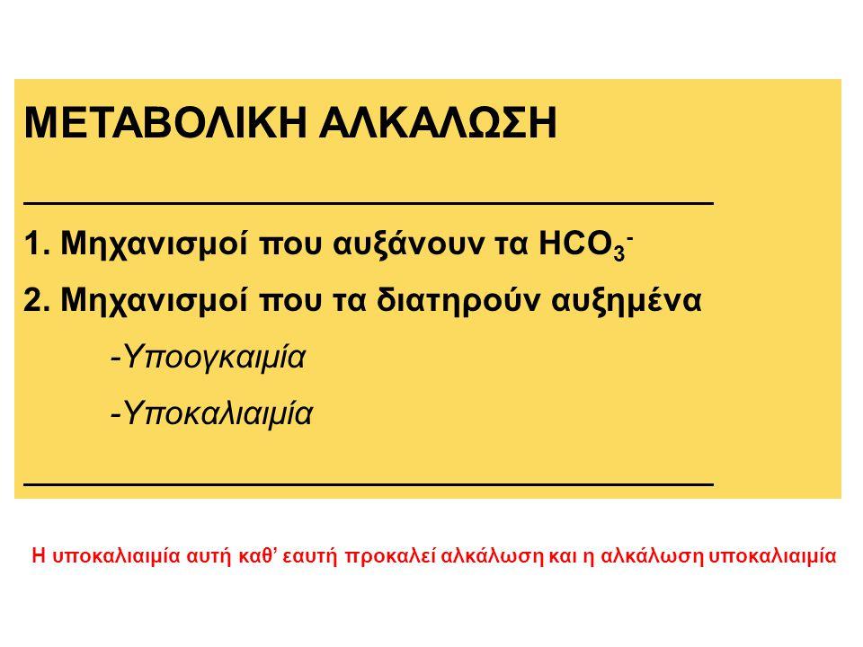 ΜΕΤΑΒΟΛΙΚΗ ΑΛΚΑΛΩΣΗ 1. Μηχανισμοί που αυξάνουν τα HCO 3 - 2. Μηχανισμοί που τα διατηρούν αυξημένα -Υποογκαιμία -Υποκαλιαιμία Η υποκαλιαιμία αυτή καθ'