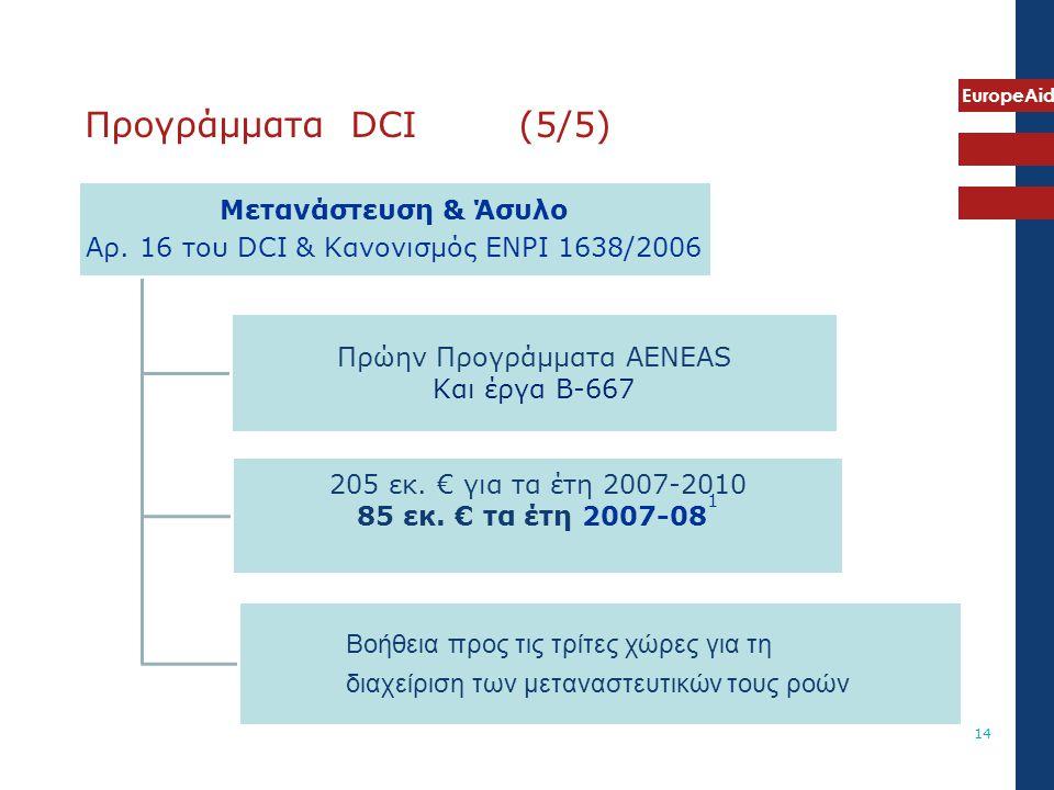 EuropeAid 14 Μετανάστευση & Άσυλο Αρ. 16 του DCI & Κανονισμός ENPI 1638/2006 Πρώην Προγράμματα AENEAS Και έργα B-667 205 εκ. € για τα έτη 2007-2010 85