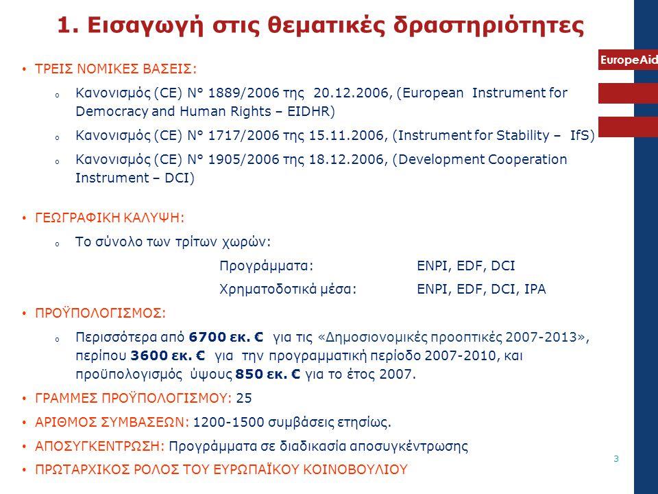 EuropeAid 3 • ΤΡΕΙΣ ΝΟΜΙΚΕΣ ΒΑΣΕΙΣ: o Κανονισμός (CE) N° 1889/2006 της 20.12.2006, (European Instrument for Democracy and Human Rights – EIDHR) o Κανο