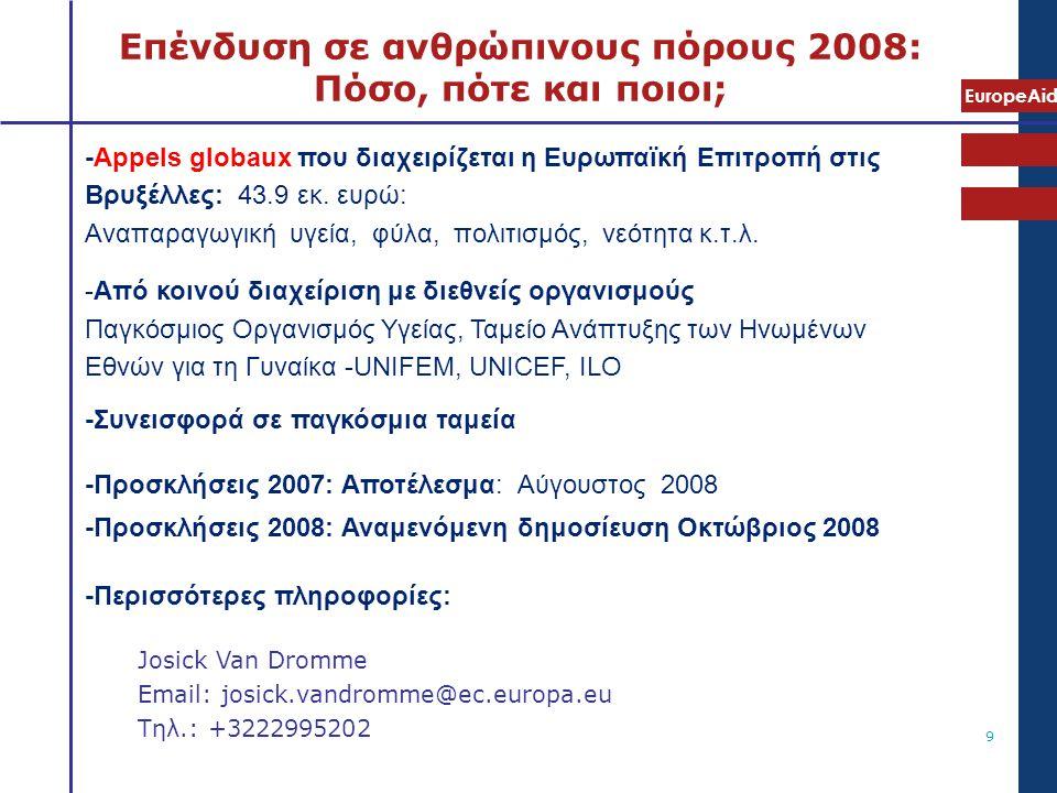 EuropeAid 9 Επένδυση σε ανθρώπινους πόρους 2008: Πόσο, πότε και ποιοι; -Appels globaux που διαχειρίζεται η Ευρωπαϊκή Επιτροπή στις Βρυξέλλες: 43.9 εκ.