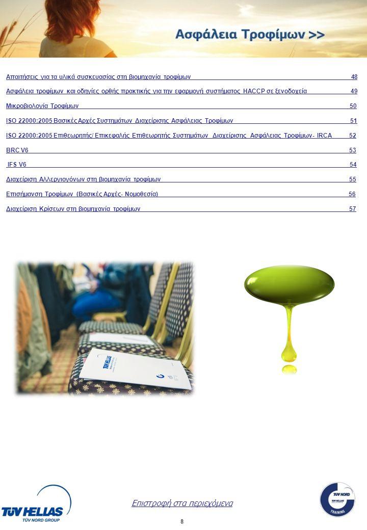 8 Επιστροφή στα περιεχόμενα Απαιτήσεις για τα υλικά συσκευασίας στη βιομηχανία τροφίμων______________________________________________ 48 Ασφάλεια τροφίμων και οδηγίες ορθής πρακτικής για την εφαρμογή συστήματος HACCP σε ξενοδοχεία____________ 49 Μικροβιολογία Τροφίμων___ __ 50 ΙSO 22000:2005 Βασικές Αρχές Συστημάτων Διαχείρισης Ασφάλειας Τροφίμων 51SO 22000:2005 Βασικές Αρχές Συστημάτων Διαχείρισης Ασφάλειας Τροφίμων 51 ISO 22000:2005 Επιθεωρητής/ Επικεφαλής Επιθεωρητής Συστημάτων Διαχείρισης Ασφάλειας Τροφίμων- IRCA 52 BRC V6 53 IFS V6 _54 Διαχείριση Αλλεργιογόνων στη βιομηχανία τροφίμων 5 Επισήμανση Τροφίμων (Βασικές Αρχές- Νομοθεσία) __56 Διαχείριση Κρίσεων στη βιομηχανία τροφίμων 57