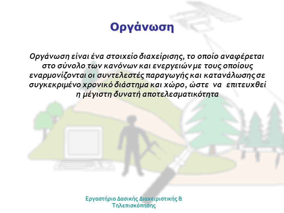 Εργαστήριο Δασικής Διαχειριστικής & Τηλεπισκόπησης Οργάνωση Οργάνωση είναι ένα στοιχείο διαχείρισης, το οποίο αναφέρεται στο σύνολο των κανόνων και εν