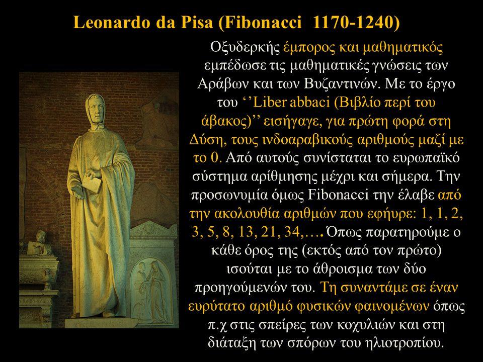 Οξυδερκής έμπορος και μαθηματικός εμπέδωσε τις μαθηματικές γνώσεις των Αράβων και των Βυζαντινών. Με το έργο του ''Liber abbaci (Βιβλίο περί του άβακο