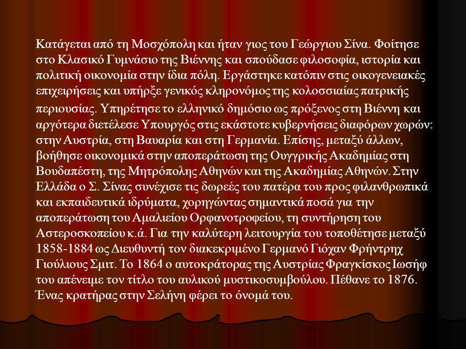 Κατάγεται από τη Μοσχόπολη και ήταν γιος του Γεώργιου Σίνα. Φοίτησε στο Κλασικό Γυμνάσιο της Βιέννης και σπούδασε φιλοσοφία, ιστορία και πολιτική οικο