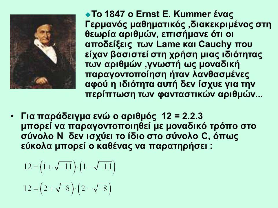 •Για παράδειγμα ενώ ο αριθμός 12 = 2.2.3 μπορεί να παραγοντοποιηθεί με μοναδικό τρόπο στο σύνολο Ν δεν ισχύει το ίδιο στο σύνολο C, όπως εύκολα μπορεί