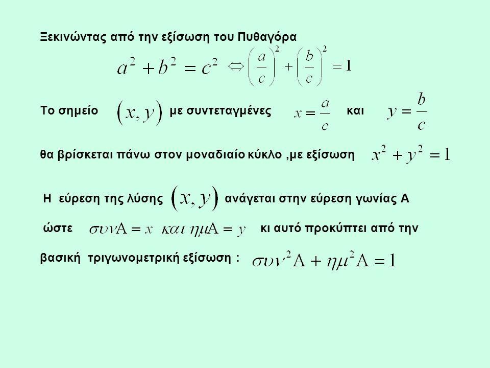Ξεκινώντας από την εξίσωση του Πυθαγόρα Το σημείο με συντεταγμένες και θα βρίσκεται πάνω στον μοναδιαίο κύκλο,με εξίσωση Η εύρεση της λύσης ανάγεται σ