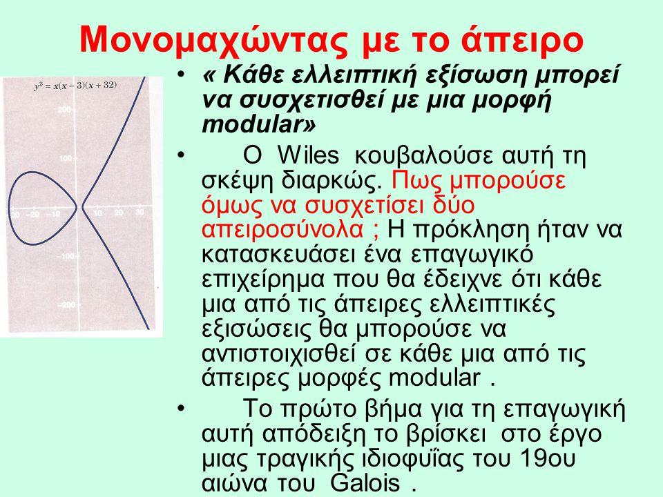Μονομαχώντας με το άπειρο •« Κάθε ελλειπτική εξίσωση μπορεί να συσχετισθεί με μια μορφή modular» •Ο Wiles κουβαλούσε αυτή τη σκέψη διαρκώς. Πως μπορού
