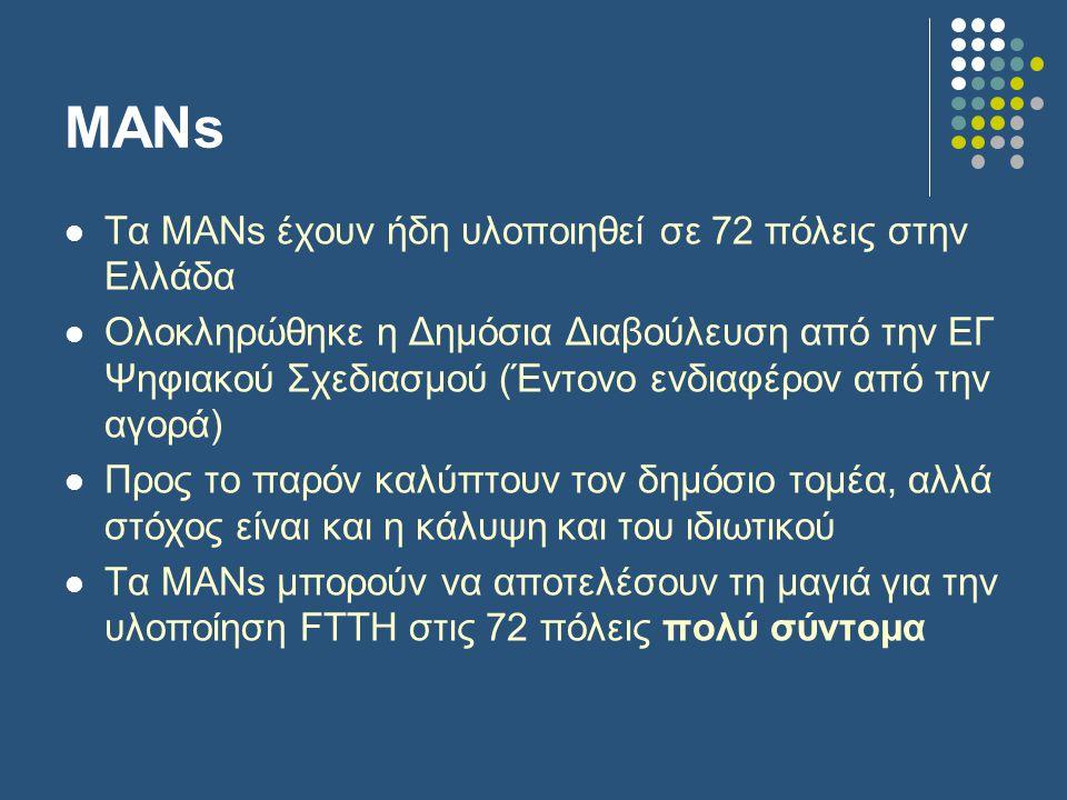 ΜΑΝs  Τα ΜΑΝs έχουν ήδη υλοποιηθεί σε 72 πόλεις στην Ελλάδα  Ολοκληρώθηκε η Δημόσια Διαβούλευση από την ΕΓ Ψηφιακού Σχεδιασμού (Έντονο ενδιαφέρον από την αγορά)  Προς το παρόν καλύπτουν τον δημόσιο τομέα, αλλά στόχος είναι και η κάλυψη και του ιδιωτικού  Τα MANs μπορούν να αποτελέσουν τη μαγιά για την υλοποίηση FTTH στις 72 πόλεις πολύ σύντομα