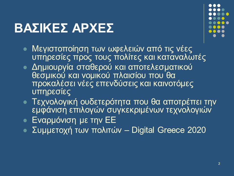 2 ΒΑΣΙΚΕΣ ΑΡΧΕΣ  Μεγιστοποίηση των ωφελειών από τις νέες υπηρεσίες προς τους πολίτες και καταναλωτές  Δημιουργία σταθερού και αποτελεσματικού θεσμικού και νομικού πλαισίου που θα προκαλέσει νέες επενδύσεις και καινοτόμες υπηρεσίες  Τεχνολογική ουδετερότητα που θα αποτρέπει την εμφάνιση επιλογών συγκεκριμένων τεχνολογιών  Εναρμόνιση με την ΕΕ  Συμμετοχή των πολιτών – Digital Greece 2020