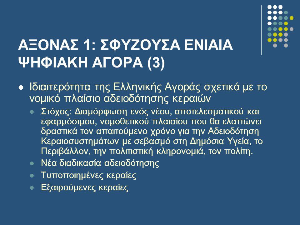 ΑΞΟΝΑΣ 1: ΣΦΥΖΟΥΣΑ ΕΝΙΑΙΑ ΨΗΦΙΑΚΗ ΑΓΟΡΑ (3)  Ιδιαιτερότητα της Ελληνικής Αγοράς σχετικά με το νομικό πλαίσιο αδειοδότησης κεραιών  Στόχος: Διαμόρφωση ενός νέου, αποτελεσματικού και εφαρμόσιμου, νομοθετικού πλαισίου που θα ελαττώνει δραστικά τον απαιτούμενο χρόνο για την Αδειοδότηση Κεραιοσυστημάτων με σεβασμό στη Δημόσια Υγεία, το Περιβάλλον, την πολιτιστική κληρονομιά, τον πολίτη.