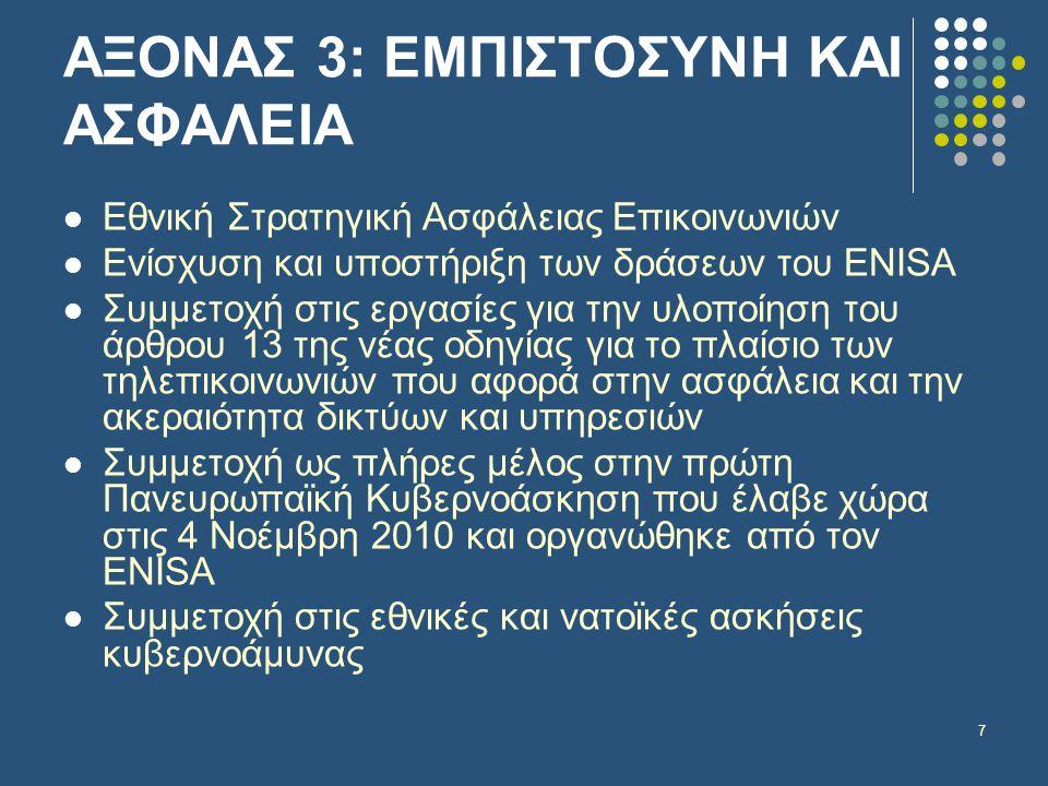 7 ΑΞΟΝΑΣ 3: ΕΜΠΙΣΤΟΣΥΝΗ ΚΑΙ ΑΣΦΑΛΕΙΑ  Εθνική Στρατηγική Ασφάλειας Επικοινωνιών  Ενίσχυση και υποστήριξη των δράσεων του ENISA  Συμμετοχή στις εργασίες για την υλοποίηση του άρθρου 13 της νέας οδηγίας για το πλαίσιο των τηλεπικοινωνιών που αφορά στην ασφάλεια και την ακεραιότητα δικτύων και υπηρεσιών  Συμμετοχή ως πλήρες μέλος στην πρώτη Πανευρωπαϊκή Κυβερνοάσκηση που έλαβε χώρα στις 4 Νοέμβρη 2010 και οργανώθηκε από τον ENISA  Συμμετοχή στις εθνικές και νατοϊκές ασκήσεις κυβερνοάμυνας
