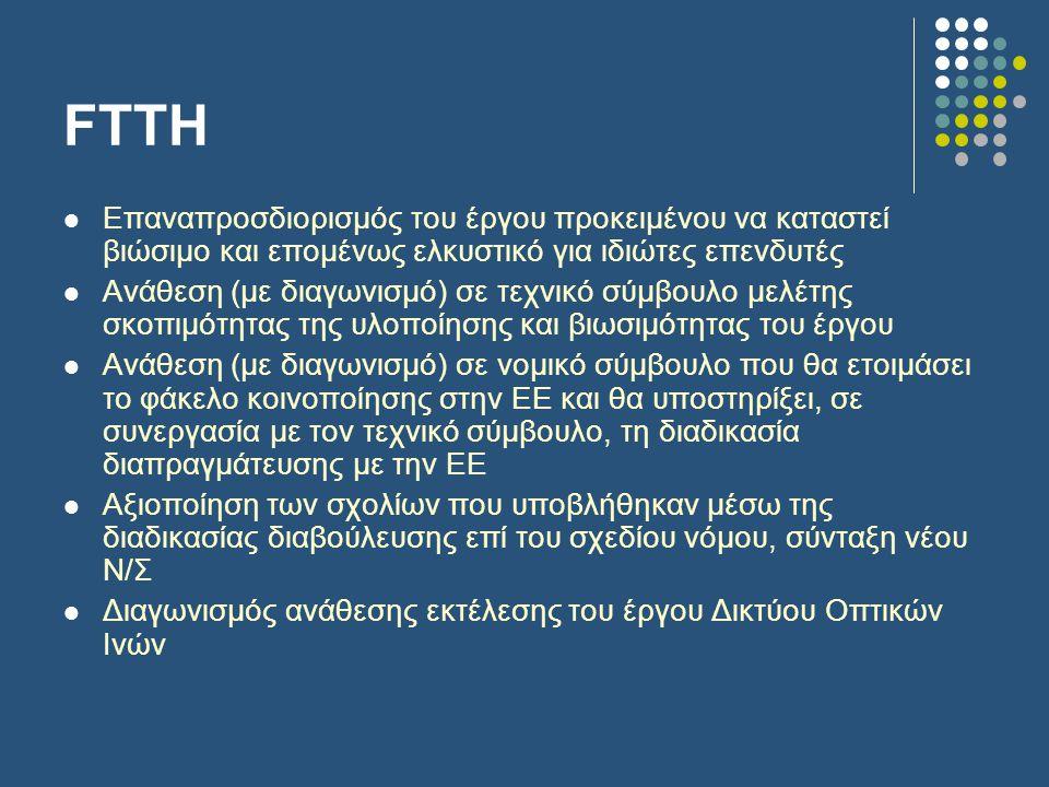 FTTH  Επαναπροσδιορισμός του έργου προκειμένου να καταστεί βιώσιμο και επομένως ελκυστικό για ιδιώτες επενδυτές  Ανάθεση (με διαγωνισμό) σε τεχνικό σύμβουλο μελέτης σκοπιμότητας της υλοποίησης και βιωσιμότητας του έργου  Ανάθεση (με διαγωνισμό) σε νομικό σύμβουλο που θα ετοιμάσει το φάκελο κοινοποίησης στην ΕΕ και θα υποστηρίξει, σε συνεργασία με τον τεχνικό σύμβουλο, τη διαδικασία διαπραγμάτευσης με την ΕΕ  Αξιοποίηση των σχολίων που υποβλήθηκαν μέσω της διαδικασίας διαβούλευσης επί του σχεδίου νόμου, σύνταξη νέου Ν/Σ  Διαγωνισμός ανάθεσης εκτέλεσης του έργου Δικτύου Οπτικών Ινών