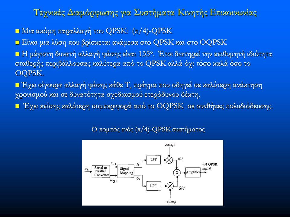 Τεχνικές Διαμόρφωσης για Συστήματα Κινητής Επικοινωνίας  Μια ακόμη παραλλαγή του QPSK: (π/4)-QPSK  Είναι μια λύση που βρίσκεται ανάμεσα στο QPSK και στο OQPSK  H μέγιστη δυνατή αλλαγή φάσης είναι 135 ο.